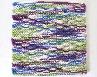 Knit Cotton Dishcloth Knitted Washcloth Hand Knit Dishcloth Blue Purple Green Kitchen Decor