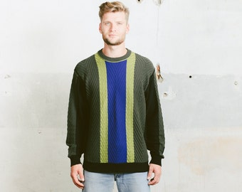80s Vintage SWEATER . 1980s Men Vertical Striped Aran Cable Chunky Knit Jumper Green Blue Cabin Sweater Pullover . size Medium to Large