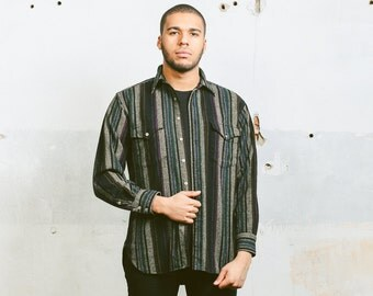 PENDLETON Aztec Print Shirt . Vintage Mens Wool 1990s Striped 90s Minimalist Southwestern Hippie Mexican Normcore . Medium Large