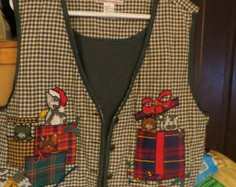 vtg ugly CHRISTMAS kITTENS and  gifts   cotton  vest  for men or women  sz   3 x