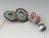 Rustic Artisan Pairs - (6) Handmade Lampwork Beads -  Mint, Pink