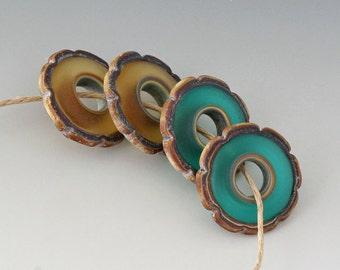 Rustic Ruffle Discs - (4) Handmade Lampwork Beads - Amber, Teal