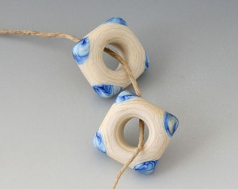 Southwest Square Pair - (2) Handmade Lampwork Beads -  Blue, Cream - Etched, Matte