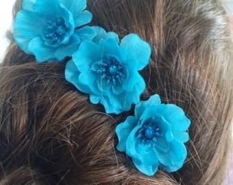 SALE Hair Pin Set of 3 Aqua Blue Turquoise Flower Handmade Bun Chignon Bobby Hair Pin Prom Wedding Bridesmaid Flower Girl Special Occasion