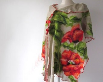 Linen poncho , linen scarf  Grey jersey stole , Poppy scarf Natural linen poncho, felted scarf, Red Poppy flower, Natural flax