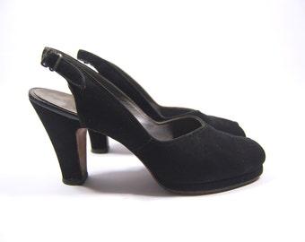 1940s Size 8.5A Black Suede Platform Heels - Black Suede 40s Heels -40s Peeptoe Heels Size 8 1/2
