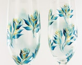 Hand Painted 50th Anniversary Champagne Flutes - Teal Blue and Gold Roses Set of 2 - Personalized Glasses flûtes de champagne au mariage