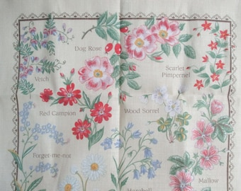 Ulster Weavers Tea Towel Country Flowers by Lil Stein Irish Linen never used