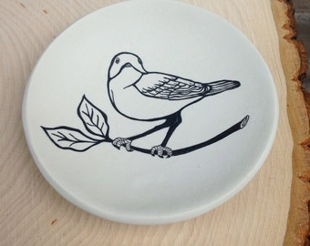 Ring Dish, jewelry dish, polymer clay ring dish of a bird on a branch illustration.