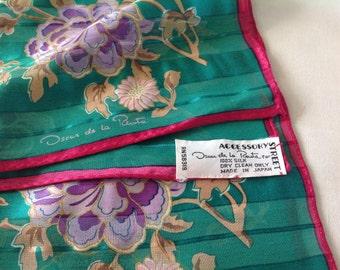 Oscar De La Renta Silk Scarf - Made in Japan
