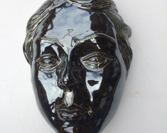 Wall Mask of Venus, Porcelain Portrait Goddess Art After Botticelli, Figure Sculpture Face Palladium Mirror Glaze