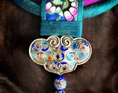 Purple and Turquoise Silk with Chinese Lock