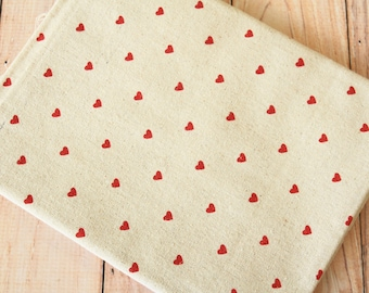 Retro Red HEARTS Cotton Linen Mix fabric