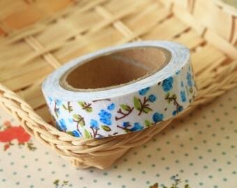 Leafy Little Blue Garden Flowers deco fabric tape
