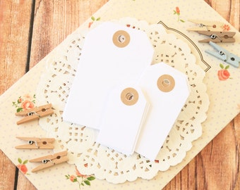 Cotton White handmade reinforced colour Luggage Tags
