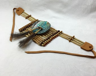 "Bone hair pipe mini breastplate choker, tea stained, buffalo bone, antiqued, mens traditional regalia, pow wow, native, 3"" abalone gorget"