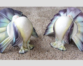1/2 PRICE! Sale! 2 Art Deco Vintage Puffed Out Birds GOLDSCHEIDER Pottery Ceramics Turkeys Peacocks Puffy Marked American
