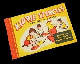 1940's KIDDIE STENCILS - Vintage Unused Stencil and Construction Paper Book Birthday