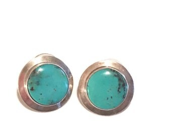 Vintage sterling silver Earrings Turquoise Signed Large Round Post