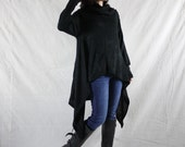 Longsleeve Turtle Neck Pullover Asymmetrical Curve Hem Black Viscose Knit Sweater Tunics Women Tops With 2 Inseam Pockets Size 2 To Size 18