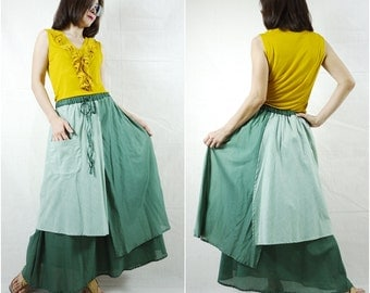 3 Tone Skirt...Triple Layer Green Tone Light Cotton Lawn Skirt With 1 Patched Pocket - Size 10 To Size 18
