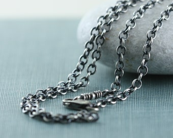 Rustic Necklace Chain For Charms Pendant Antique Finish, Bright, 2.4mm Solid Sterling Silver