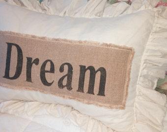 Pillow Slip Cover Pillow Sham  Burlap Muslin Pillow Sham PILLOW CASE w/ Dream design