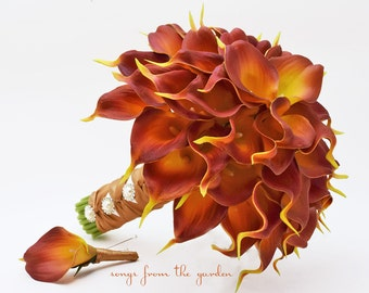 Fall Wedding Real Touch Calla Lily Bridal Bouquet Groom's Boutonniere Burnt Orange Brown with Ivory Gold Wrap Pearl Buttons