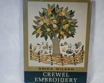 "Vintage Hardbound Book - ""Crewel Embroidery"" by Erica Wilson"