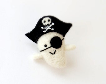 Halloween ghost brooch : Needle felted miniature pirate ghost pin, cute goth accessories, small ghost