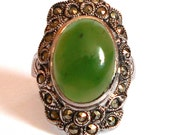 Sterling Art Deco Marcasite Ring Green Stone