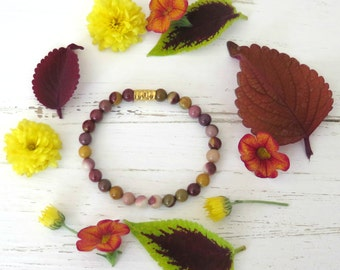 Rustic Mookaite Bracelet - Gold Vermeil - Mookaite Bracelet - Autumn Spice Collection
