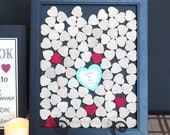 heart frame wedding guest book  Unique Heart Guestbook  280 hearts  -  Frame included-instruction card included