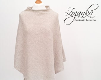 women PONCHO, wool poncho cape L-XL size, autumn fashion, gift ideas, poncho wrap, BEIGE poncho wrap, gift ideas