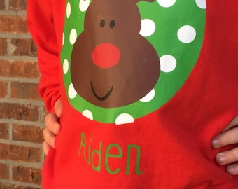 Christmas Long Sleeve Youth Boys Shirt with Circle Design and Reindeer with Child's Name Included