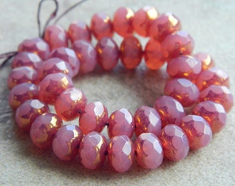 Bronzed Pink Czech glass rondelles, Fire polished faceted donut beads, 6X8mm, glass donut beads, opal pink & bronze (20pcs) NEW