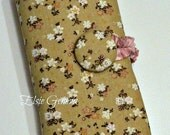 Vintage Beige Aqua or Pink Floral Japanese Fabric Interchangeable DPN Straight Spill Proof Knitting Needle Organizer Retro