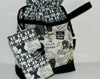 Sherlock Crochet Case and Drawstring Bag Combo - Spill Proof Crochet Case - Black and Natural Damask - Tulip Clover Soft Grip