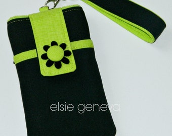 Black Canvas and Lime Green Phone Case with Wristlet and Back Zipper Pocket with or without Felted Flower iPhone 4 5 6 Plus Note Large