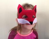 Children's Felt Fox Mask - Handmade, Kid's, Child's, Dress Up, Costume, Halloween, Red, Orange, Woodland Animal