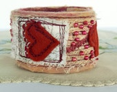 Beaded Fabric Wrist Cuff - Fiber Art Cuff Bracelet - Red Heart - Collage Bracelet