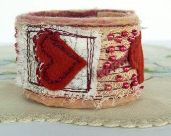 Beaded Fabric Wrist Cuff - Fiber Art Cuff Bracelet - Red Heart - Collage Bracelet