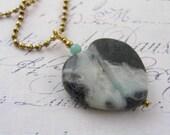 Amazonite Heart Necklace, Amazonite Necklace, Amazonite Jewelry, Carved Heart Jewelry, Carved Gem Necklace, Gem Jewelry