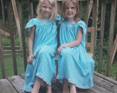 "ONLY 2 LEFT--Size 8-Girls //Blue Snowflake Nightgown/Flutter Sleeve, 100% Cotton Knit,""Made by Mrs Santa"" LABEL// Ready to Ship//mid-wt 8oz)"
