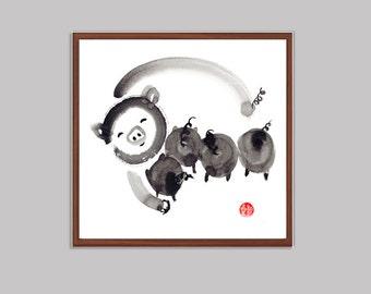 Pig, Year of the Pig, Chinese Zodiac Original Zen Ink Painting, japanese illustration, zen decor, childrens  art, japanese illustration, tao