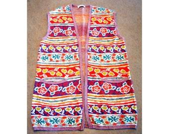 MISSONI Sweater Vest, Colorful Missoni Italian Lightweight Vest, Purple Orange Teal Patterned Missoni Vest, Made in Italy Missoni Vest,