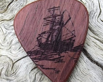 Wood Guitar Pick - Premium Quality - Handmade With Exotic Purpleheart - Laser Engraved Both Sides - Actual Pick Shown - Nautical Theme