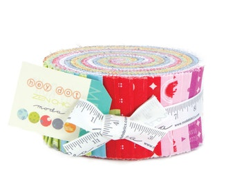 "HEY DOT Jelly Roll -  Zen Chic for Moda - 2.5"" Inch Precut Fabric Strips - Bright Cheerful Modern Geometric Jelly Roll Fabric - Polka Dots"
