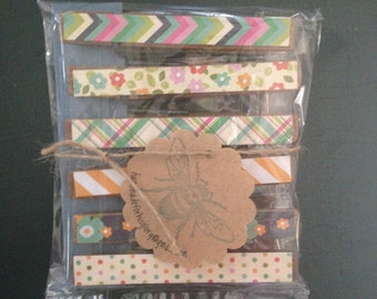 Vintage Clothes Pin Chip Clips-set of 6