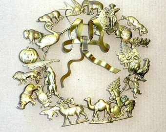 Valentine's Day? Easter? Halloween? Vintage WREATH  / Wall Decor . . . Dresden BRASS Petite Chose . . . Christmas or Year-Round Wreath